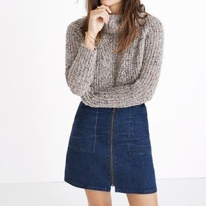 Madewell zip front denim skirt